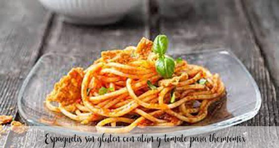Espaguetis sin gluten con atún y tomate para thermomix