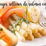 Esparragos rellenos de salmon con salsa caliente con thermomix