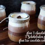 Flan 3 chocolates con Thermomix