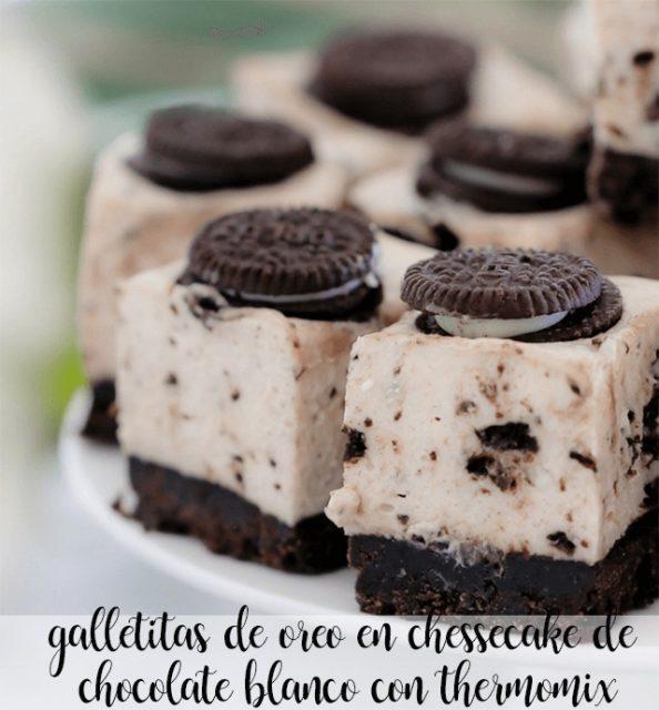 galletitas de oreo en chessecake de chocolate blanco