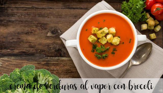 Crema de verduras al vapor con brócoli con thermomix