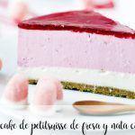 tarta Cheesecake de petitsuisse de fresa y nata con thermomix