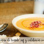 Gazpacho cremoso de tomate raf y calabacín con Thermomix