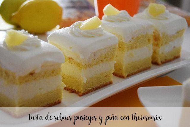 Tarta de Sobaos pasiegos y piña con la thermomix