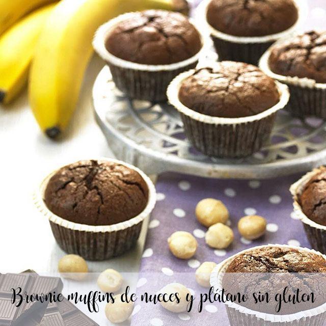 Brownie muffins de nueces y plátano sin gluten