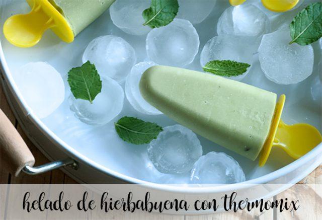 helado de hierbabuena con thermomix