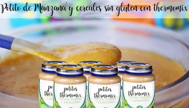 Potito de Manzana y cereales sin gluten con thermomix