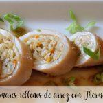Calamares rellenos de arroz con Thermomix
