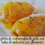 filetes de contramuslos de pollo con salsa de melocotón con Thermomix