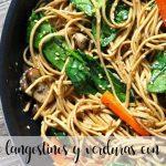 Noodles de langostinos y verduras con Thermomix