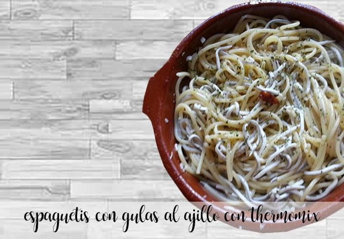 espaguetis con gulas al ajillo con thermomix
