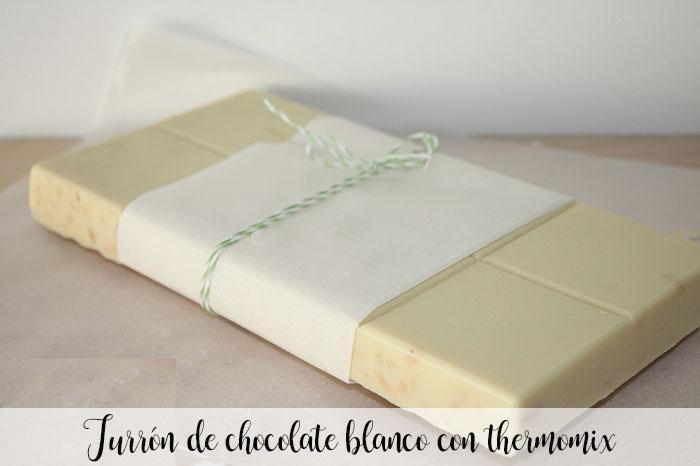 Turrón de chocolate blanco con thermomix
