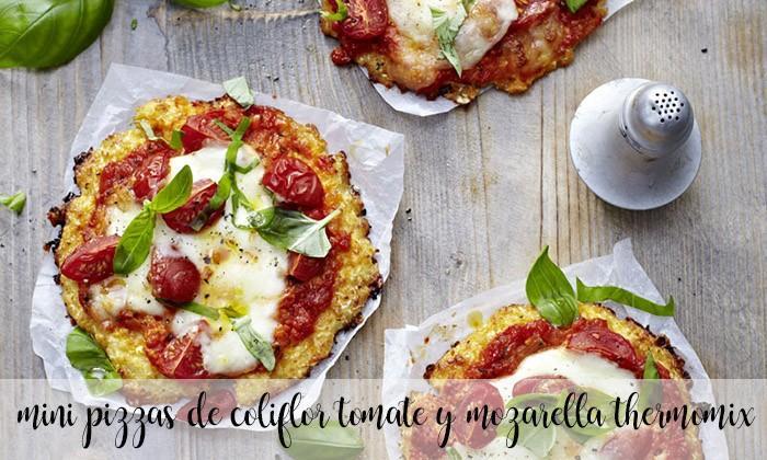 Mini pizzas de coliflor y queso de regimen sin gluten con thermomix