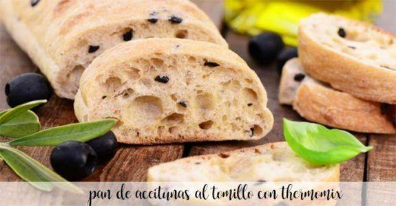 Pan de aceitunas al tomillo con thermomix