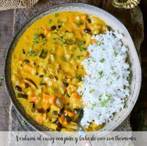 Verduras al curry con piña y leche de coco con thermomix