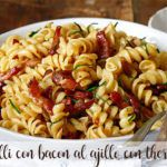 fusilli con bacon al ajillo con thermomix