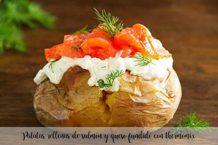 Patatas rellenas de salmón y queso fundido con thermomix