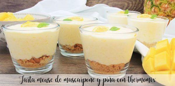Tarta mouse de mascarpone y piña con thermomix