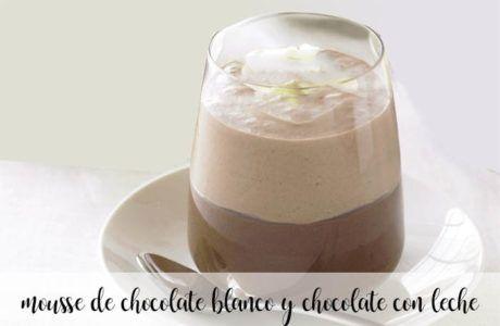 Mousse de chocolate blanco y chocolate con leche con thermomix