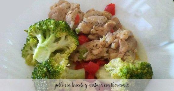 Pollo con brócoli con salsa de puerro y mostaza con thermomix