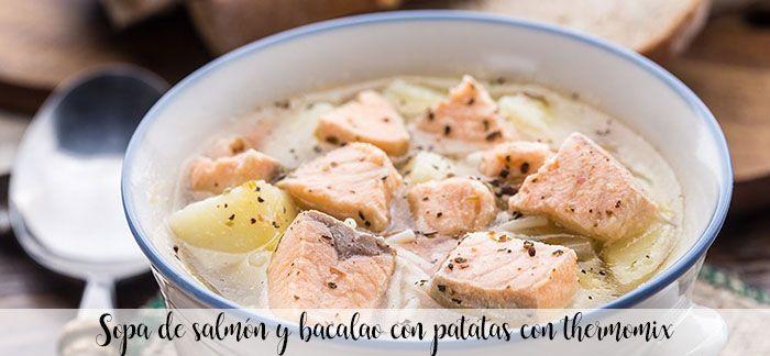 Sopa de salmón y bacalao con patatas con thermomix