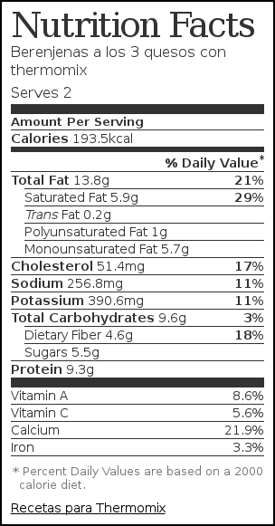 Nutrition label for Berenjenas a los 3 quesos con thermomix