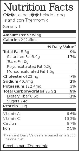 Nutrition label for Cóctel de té helado Long Island con Thermomix