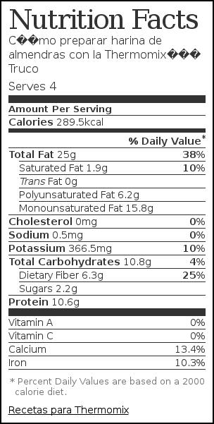 Nutrition label for Cómo preparar harina de almendras con la Thermomix– Truco