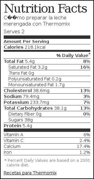 Nutrition label for Cómo preparar la leche merengada con Thermomix