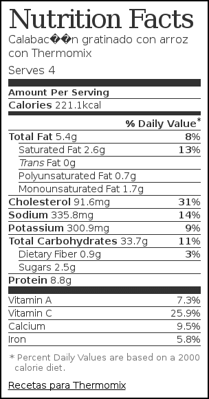 Nutrition label for Calabacín gratinado con arroz con Thermomix