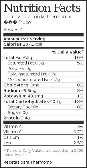 Nutrition label for Cocer arroz con la Thermomix – Truco
