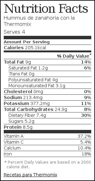 Nutrition label for Hummus de zanahoria con la Thermomix