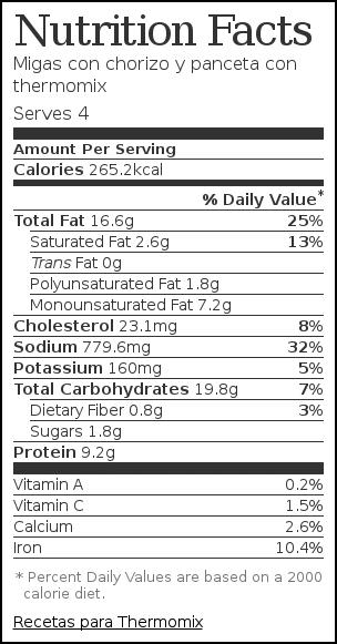 Nutrition label for Migas con chorizo y panceta con thermomix