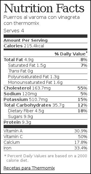 Nutrition label for Puerros al varoma con vinagreta con thermomix
