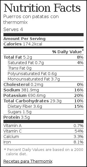 Nutrition label for Puerros con patatas con thermomix