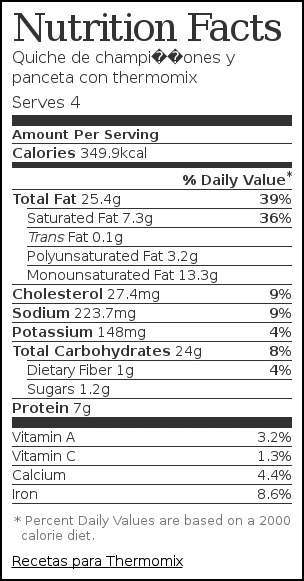 Nutrition label for Quiche de champiñones y panceta con thermomix