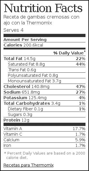 Nutrition label for Receta de gambas cremosas con ajo con la Thermomix