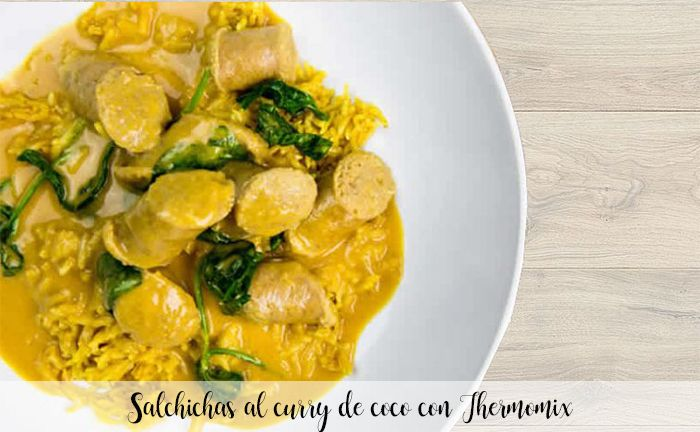 Salchichas al curry de coco con Thermomix