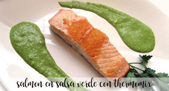 Salmón con salsa verde con Thermomix