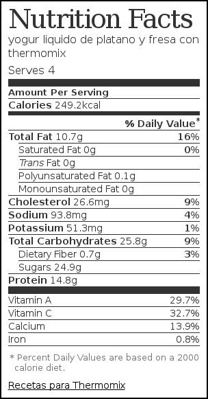 Nutrition label for yogur liquido de platano y fresa con thermomix