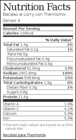 Nutrition label for Bacalao al curry con Thermomix