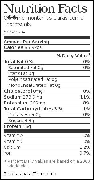 Nutrition label for Cómo montar las claras con la Thermomix