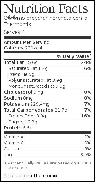 Nutrition label for Cómo preparar horchata con la Thermomix