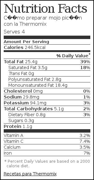 Nutrition label for Cómo preparar mojo picón con la Thermomix