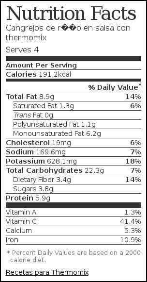 Nutrition label for Cangrejos de río en salsa con thermomix