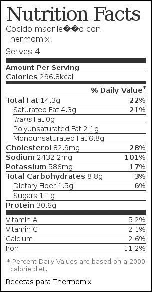 Nutrition label for Cocido madrileño con Thermomix
