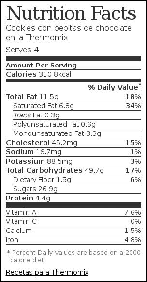 Nutrition label for Cookies con pepitas de chocolate en la Thermomix