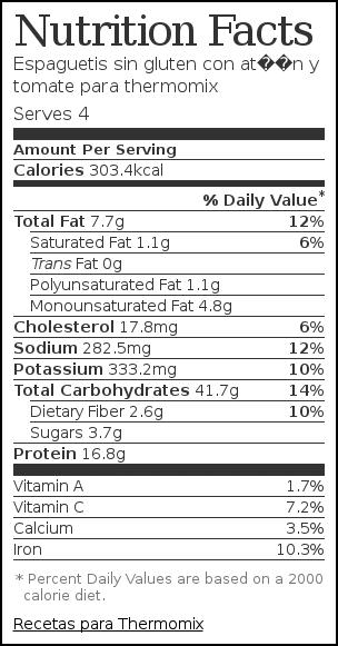 Nutrition label for Espaguetis sin gluten con atún y tomate para thermomix