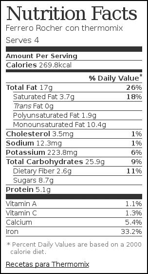 Nutrition label for Ferrero Rocher con thermomix