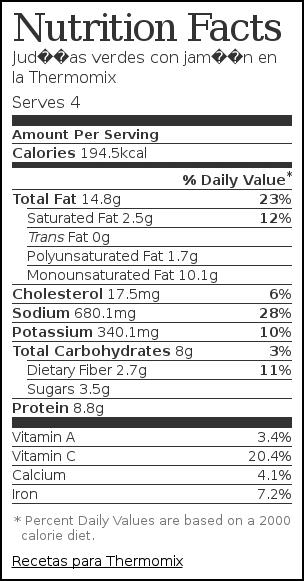 Nutrition label for Judías verdes con jamón en la Thermomix